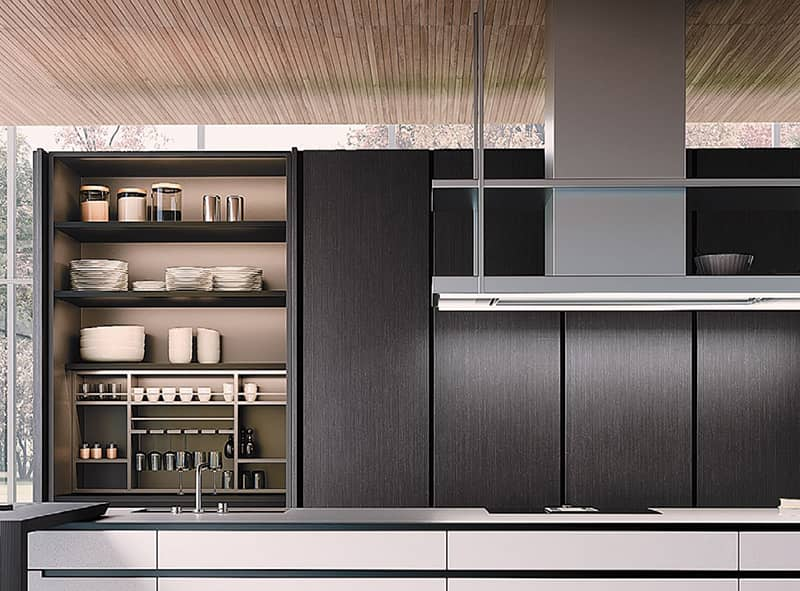 black timber kitchen cabinets